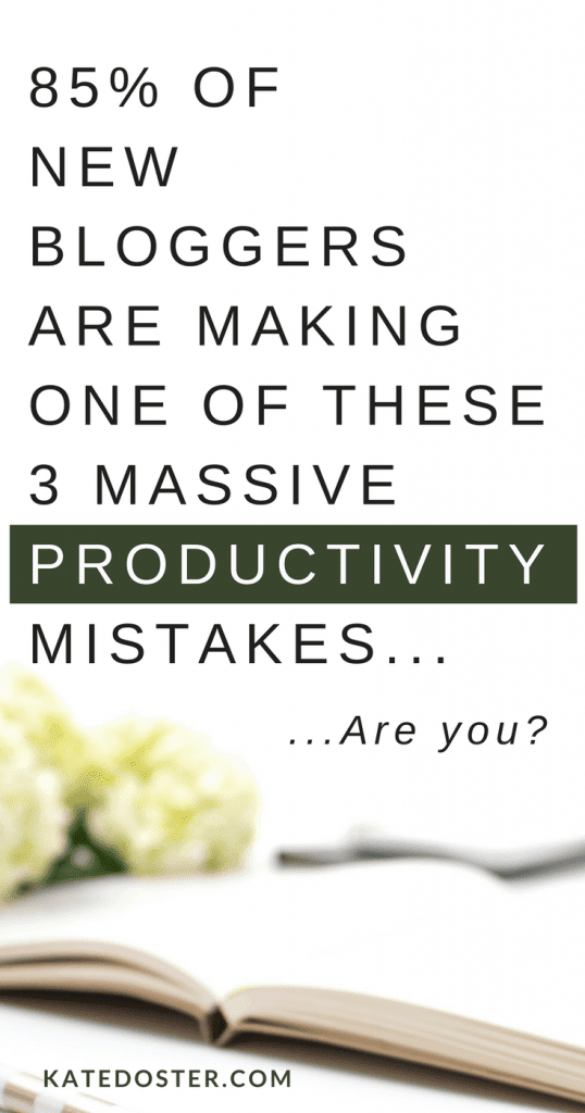 Productivity tips for new bloggers. Are you making one of these 3 HUGE productivity mistakes when trying to run your blog and turning it into a business? Don't. Emily of myadaptablecareer.com shares her best productivity tips for new bloggers so they can get more done without having to skip showers, meals and feeling like a bad mom