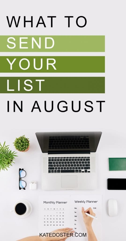 If you're struggling with what to send your list in August, steal these 4 proven easy-to-use email prompts to get your email marketing taken care of for August or any other month of the year! #katedoster #emailmarketing #onlinebusiness #inboxbesties